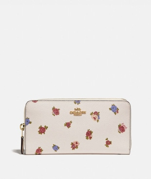 ACCORDION ZIP WALLET WITH VINTAGE ROSEBUD PRINT