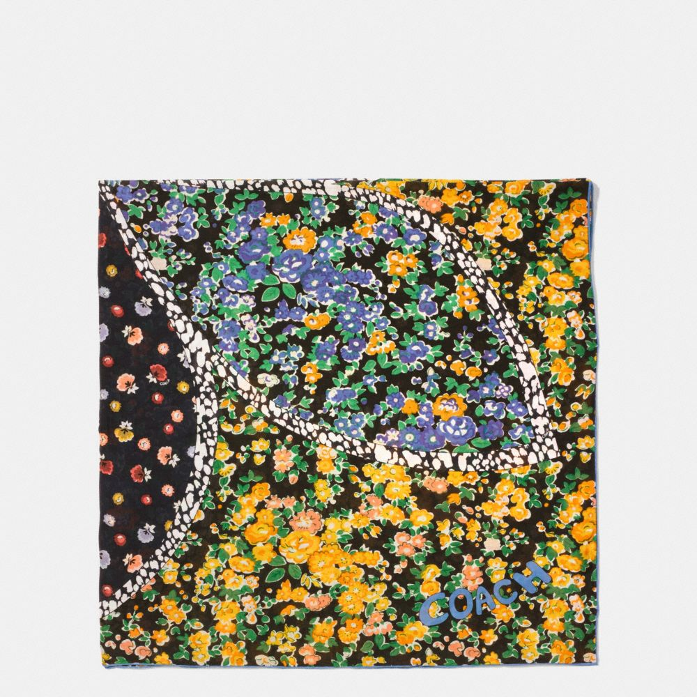 FLORAL PATCHWORK COTTON SILK OVERSIZED SQUARE SCARF
