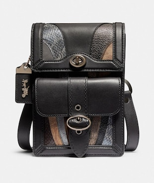 RILEY CROSSBODY WITH WAVE PATCHWORK AND SNAKESKIN DETAIL