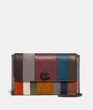 MARLOW TURNLOCK CHAIN CROSSBODY WITH PATCHWORK STRIPES
