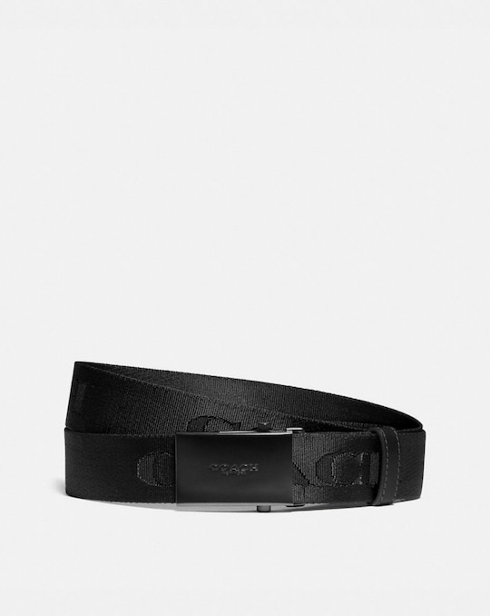 PLAQUE BUCKLE BELT WITH COACH PRINT, 35MM
