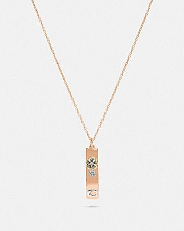 TEA ROSE DROP BAR NECKLACE