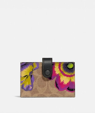 ACCORDION CARD CASE IN SIGNATURE CANVAS WITH KAFFE FASSETT PRINT