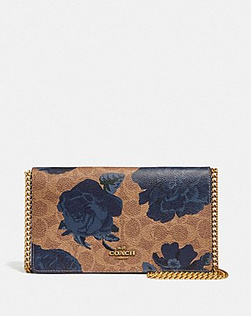 CALLIE FOLDOVER CHAIN CLUTCH IN SIGNATURE CANVAS WITH KAFFE FASSETT PRINT