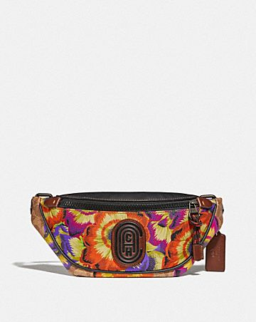 MINI RIVINGTON BELT BAG IN SIGNATURE CANVAS WITH KAFFE FASSETT PRINT