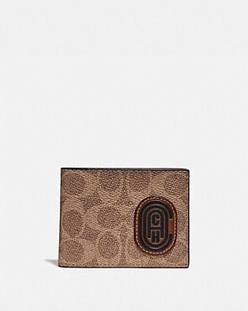 SLIM BILLFOLD WALLET WITH SIGNATURE CANVAS BLOCKING AND COACH PATCH
