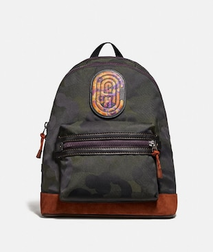 ACADEMY BACKPACK WITH WILD BEAST PRINT AND KAFFE FASSETT COACH PATCH