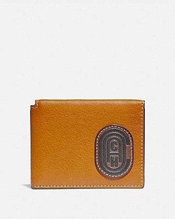 TRIFOLD CARD WALLET IN COLORBLOCK WITH COACH PATCH