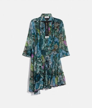 ASYMMETRICAL DRESS WITH KAFFE FASSETT PRINT