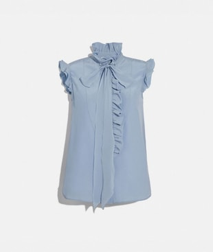 TIE NECK SLEEVELESS RUFFLE BLOUSE