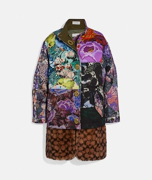 PATCHWORK PARKA WITH KAFFE FASSETT PRINT AND REMOVABLE SIGNATURE SHEARLING LINER