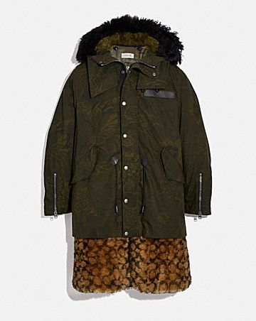 SIGNATURE SHEARLING PARKA WITH KAFFE FASSETT PRINT