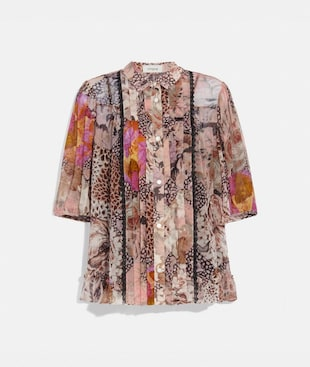 BUTTON DOWN BLOUSE WITH KAFFE FASSETT PRINT