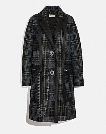 TAILORED WOOL COAT WITH LEATHER DETAIL