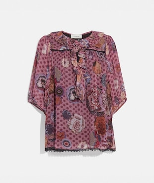 SHORT SLEEVE BLOUSE WITH KAFFE FASSETT PRINT