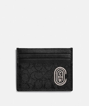 CARD CASE IN SIGNATURE JACQUARD WITH COACH PATCH