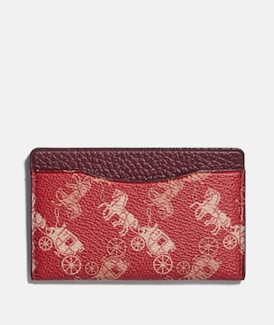 SMALL CARD CASE WITH HORSE AND CARRIAGE PRINT