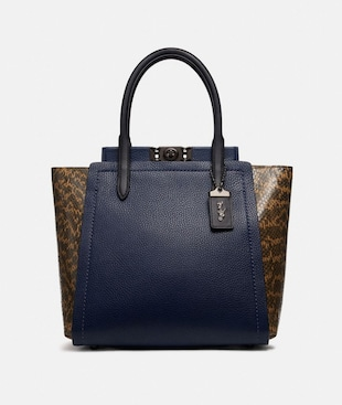 TROUPE TOTE WITH COLORBLOCK SNAKESKIN DETAIL