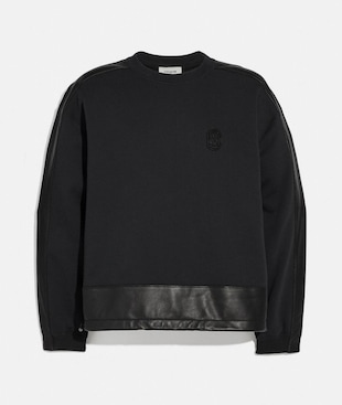 LEATHER TRIM SWEATSHIRT