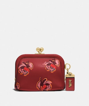 KISSLOCK COIN PURSE WITH FLORAL PRINT