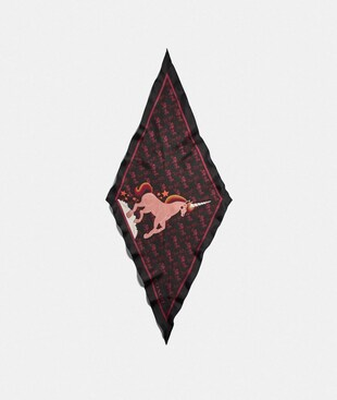 HORSE AND CARRIAGE UNICORN PRINT SILK DIAMOND SCARF