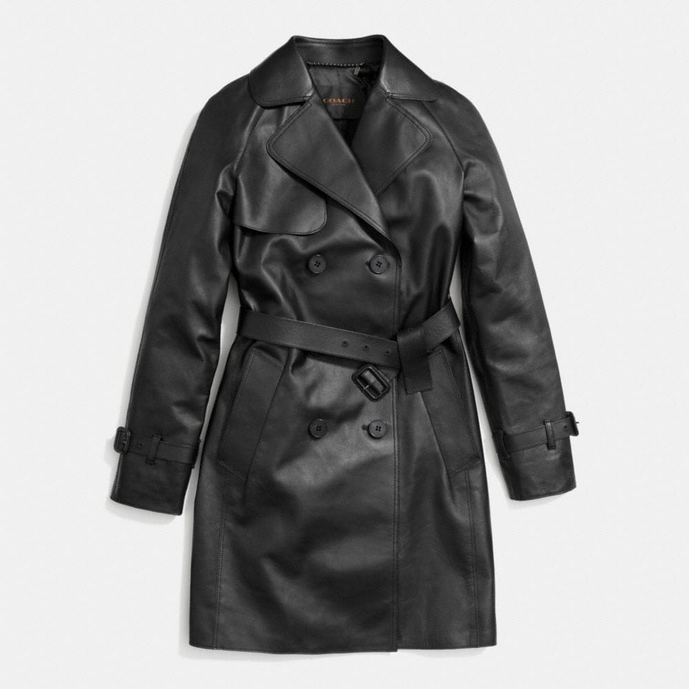 MID-LENGTH LEATHER TRENCH