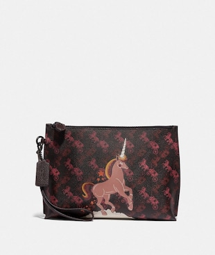 CHARLIE POUCH WITH HORSE AND CARRIAGE PRINT AND UNICORN
