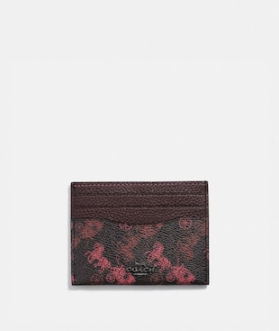 CARD CASE WITH HORSE AND CARRIAGE PRINT