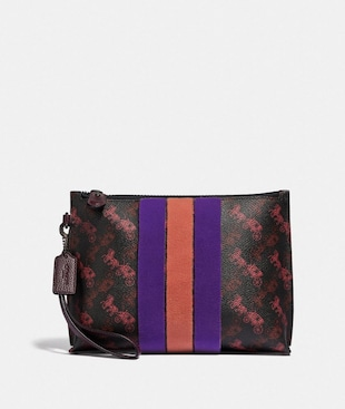 CHARLIE POUCH WITH HORSE AND CARRIAGE PRINT AND VARSITY STRIPE