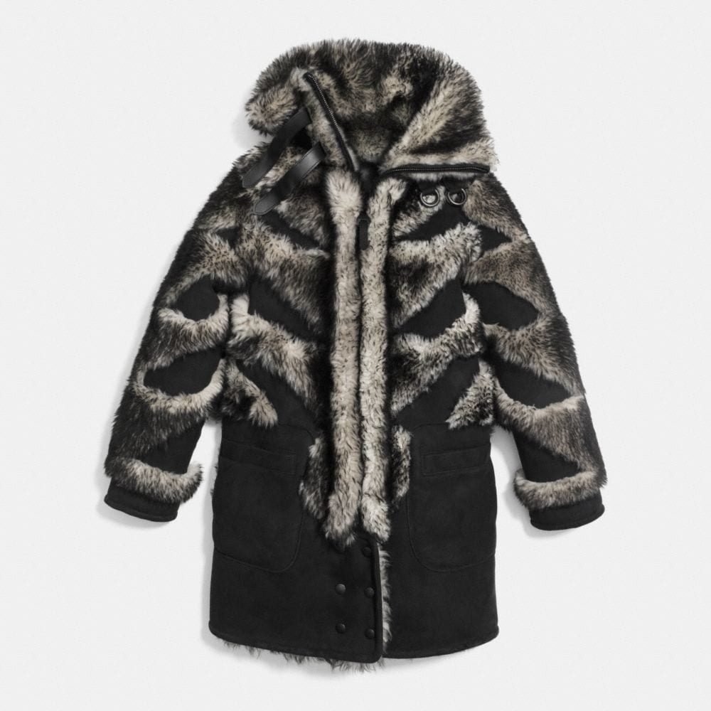 PIECED SHEEPSKIN COAT