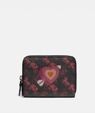 SMALL ZIP AROUND WALLET WITH HORSE AND CARRIAGE PRINT AND HEART