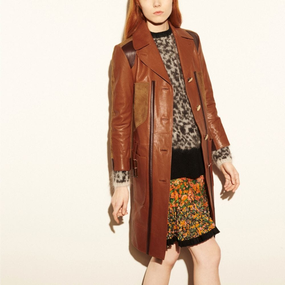 COMBO LEATHER COAT