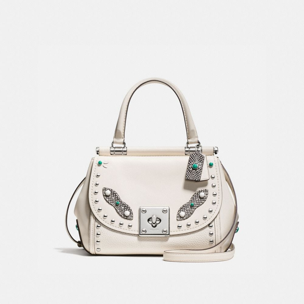 DRIFTER TOP HANDLE IN GLOVETANNED LEATHER WITH WESTERN RIVETS AND SNAKE TRIM