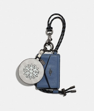 HYBRID MIRROR CHARM WITH COIN CASE IN SIGNATURE CANVAS WITH SNOWFLAKE