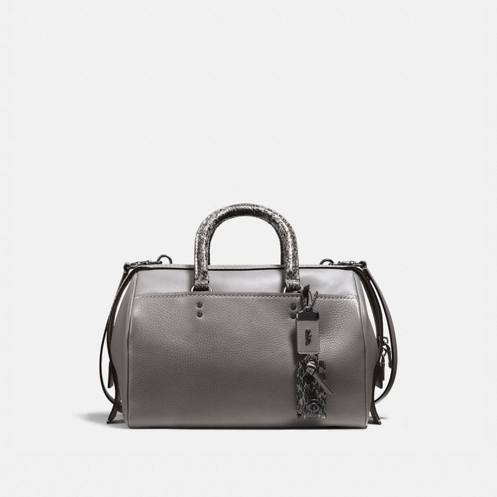 ROGUE SATCHEL WITH COLORBLOCK SNAKESKIN DETAIL