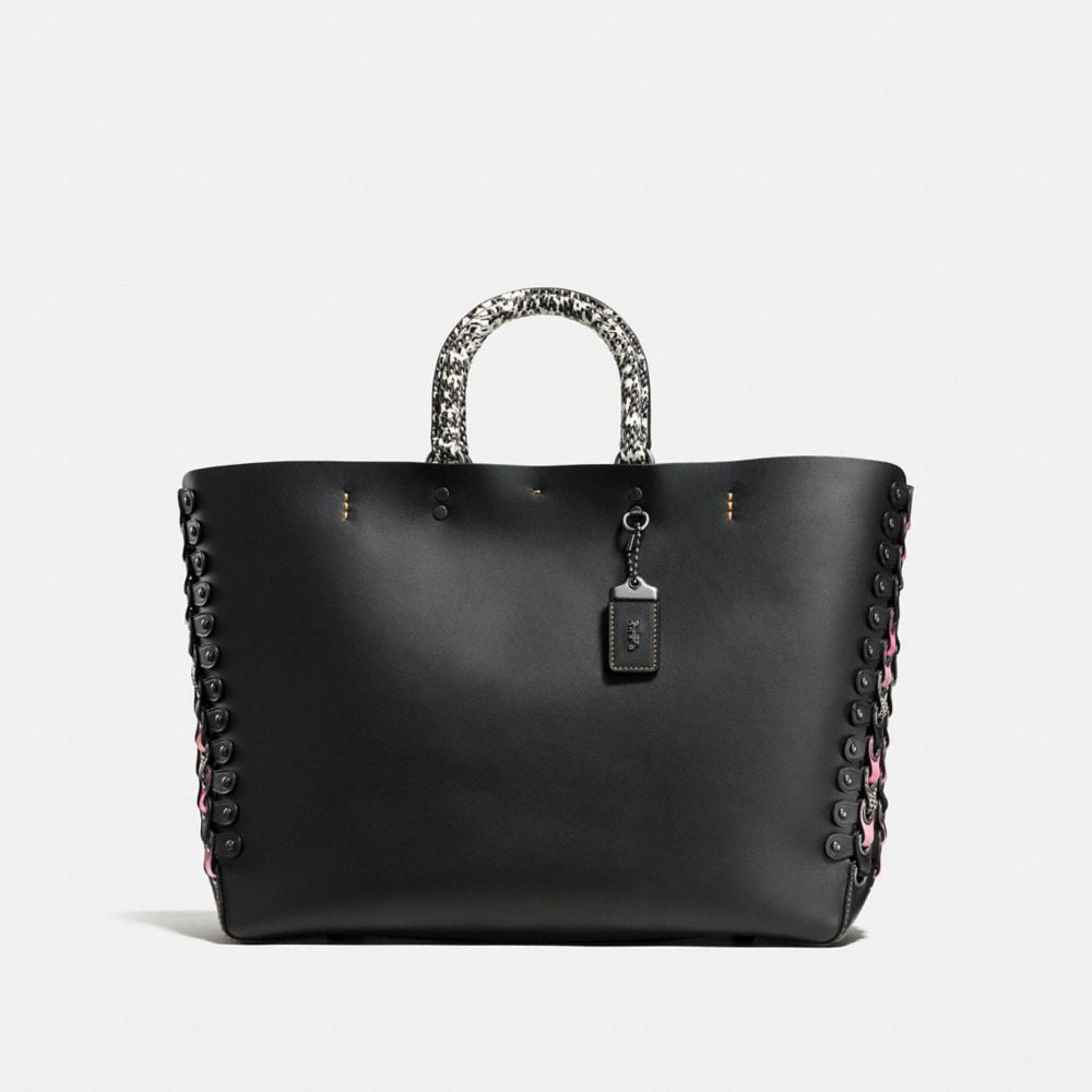 ROGUE TOTE WITH EXOTIC COACH LINK LEATHER DETAIL