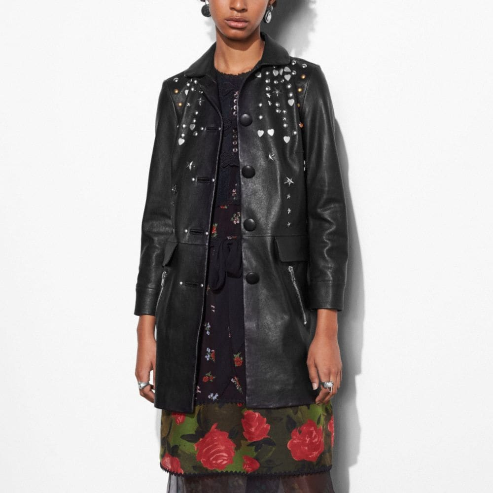 LEATHER BEATNIK RIVET COAT