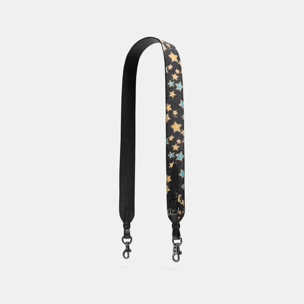 NOVELTY STRAP IN POLISHED PEBBLE LEATHER WITH STARLIGHT PRINT