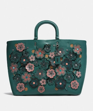 ROGUE TOTE WITH LINKED TEA ROSE