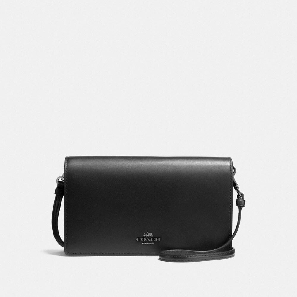 FOLDOVER CROSSBODY CLUTCH IN GLOVETANNED LEATHER