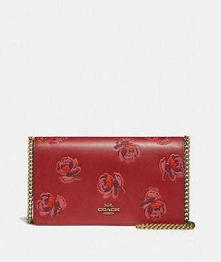 CALLIE FOLDOVER CHAIN CLUTCH WITH FLORAL PRINT