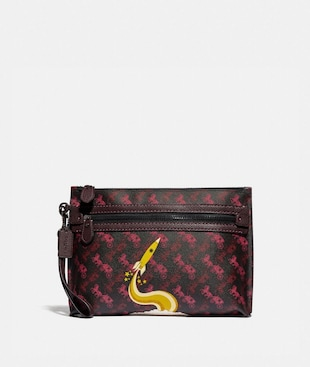 ACADEMY POUCH WITH HORSE AND CARRIAGE PRINT AND ROCKET