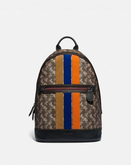 BARROW BACKPACK WITH HORSE AND CARRIAGE PRINT AND VARSITY STRIPE