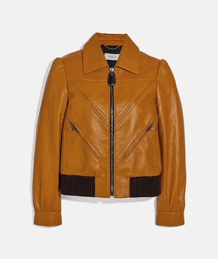 LEATHER TAILORED BOMBER JACKET WITH PIECING