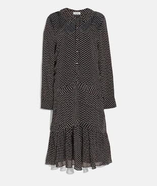 DOT GEORGETTE PLEATED DRESS