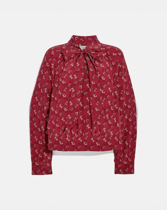 HORSE AND CARRIAGE PRINT TIE NECK BLOUSE