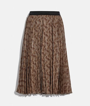 HORSE AND CARRIAGE PRINT PLEATED SKIRT