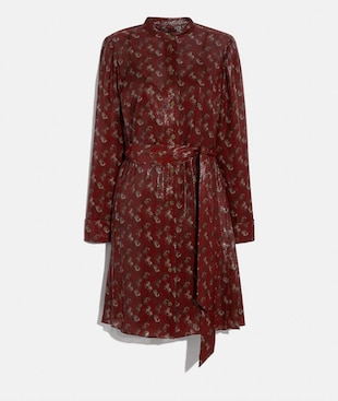 LUNAR NEW YEAR HORSE AND CARRIAGE PRINT PLEATED SHIRT DRESS