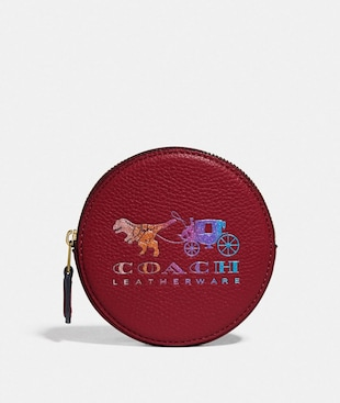 ROUND COIN CASE WITH REXY AND CARRIAGE