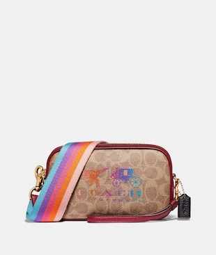 SADIE CROSSBODY CLUTCH IN SIGNATURE CANVAS WITH REXY AND CARRIAGE